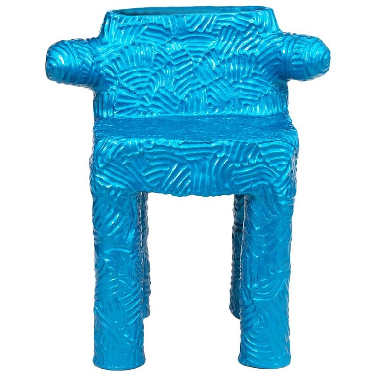 Chris Wolston Blue Metallic Terracotta Plant Chair For Sale