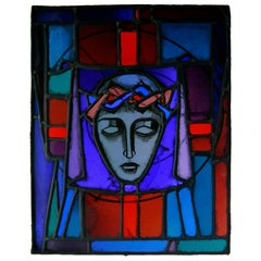 """Christ Crowned with Thorns"" Biblical Motif Leaded Stained Glass Panel / Window"