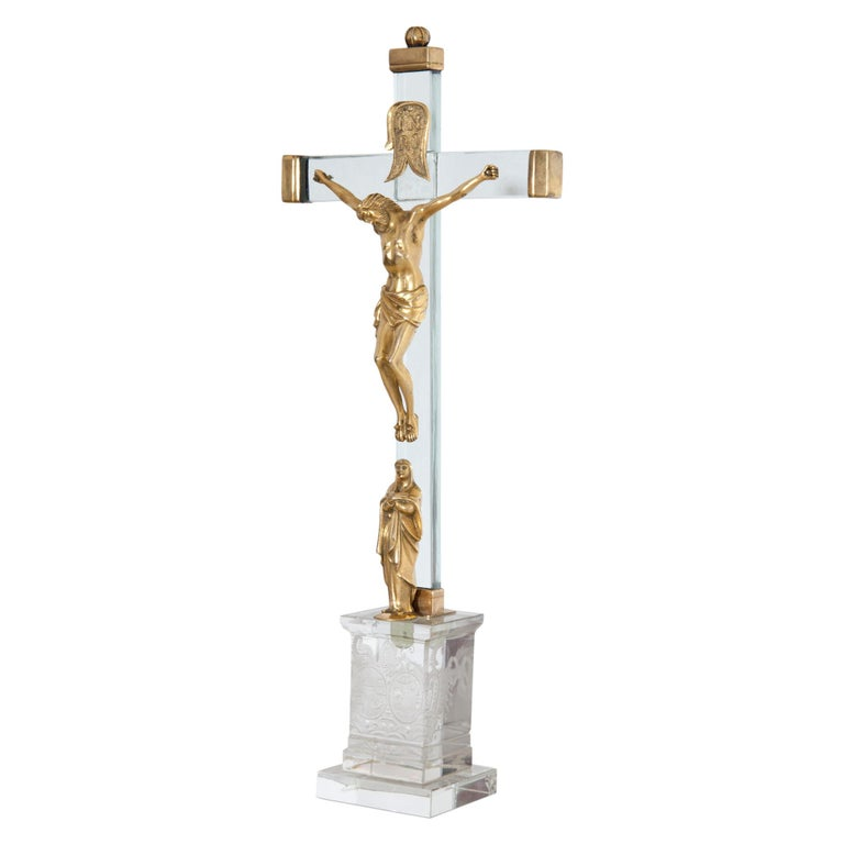 Christ on the cross with Mary in fire-gilt bronze of the 18th century, mounted on a contemporary glass cross.