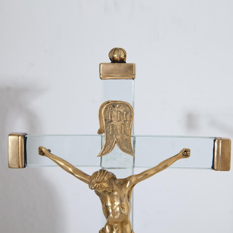 Gilt Christ on the Cross with Mary, 18th Century For Sale