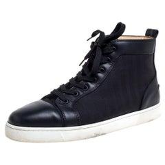 Christain Louboutin Black Canvas Louis Orlato High top Sneaker Size 45