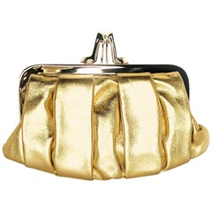 Christain Louboutin Gold Nappa Mini Loubi Lula Frame Clutch