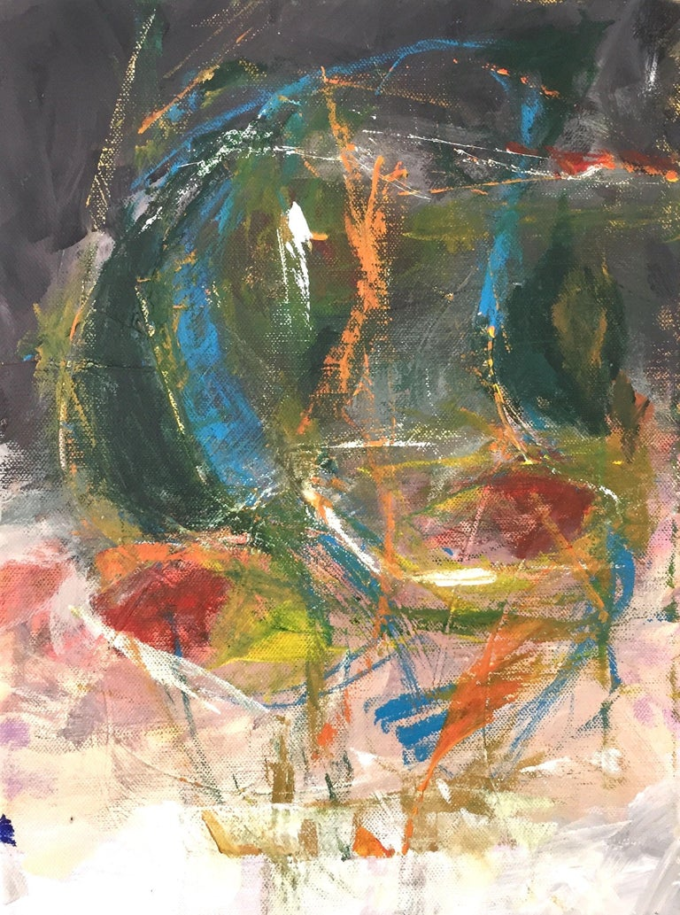 """""""Is He Back"""" is a vibrant and passionate artwork on canvas. It is gestural and expressive - an abstract face.     The artwork is ready to hang. Signed and dated on the side, title is written on the back. The sides are not painted.  The main colors"""