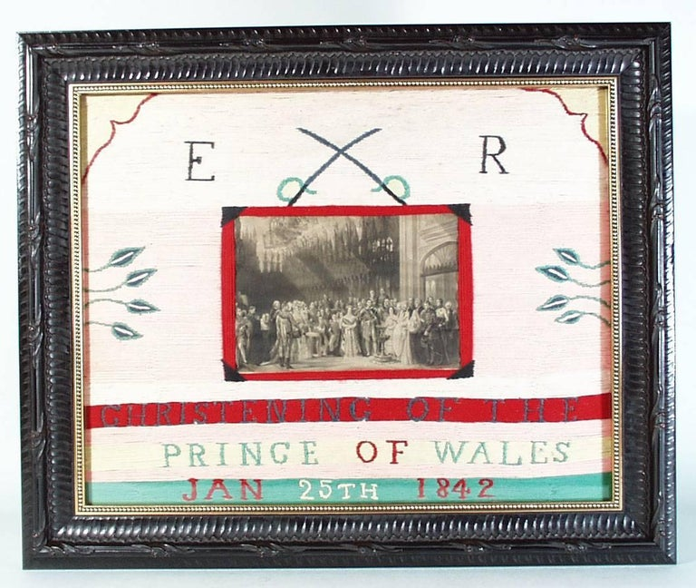 Folk Art Christening of the Prince of Wales Woolwork Picture,  Dated 1842 For Sale