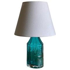 Christer Sjögren, Table Lamp, Blue Glass, Fabric, Lindshammar, Sweden, 1950s