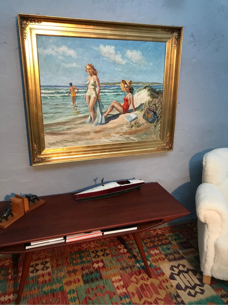 Mid-Century Modern Christian Aabye Tage Oil on Canvas of Beach Scene For Sale
