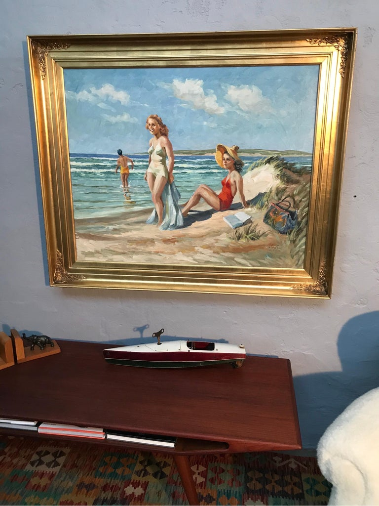 Danish Christian Aabye Tage Oil on Canvas of Beach Scene For Sale