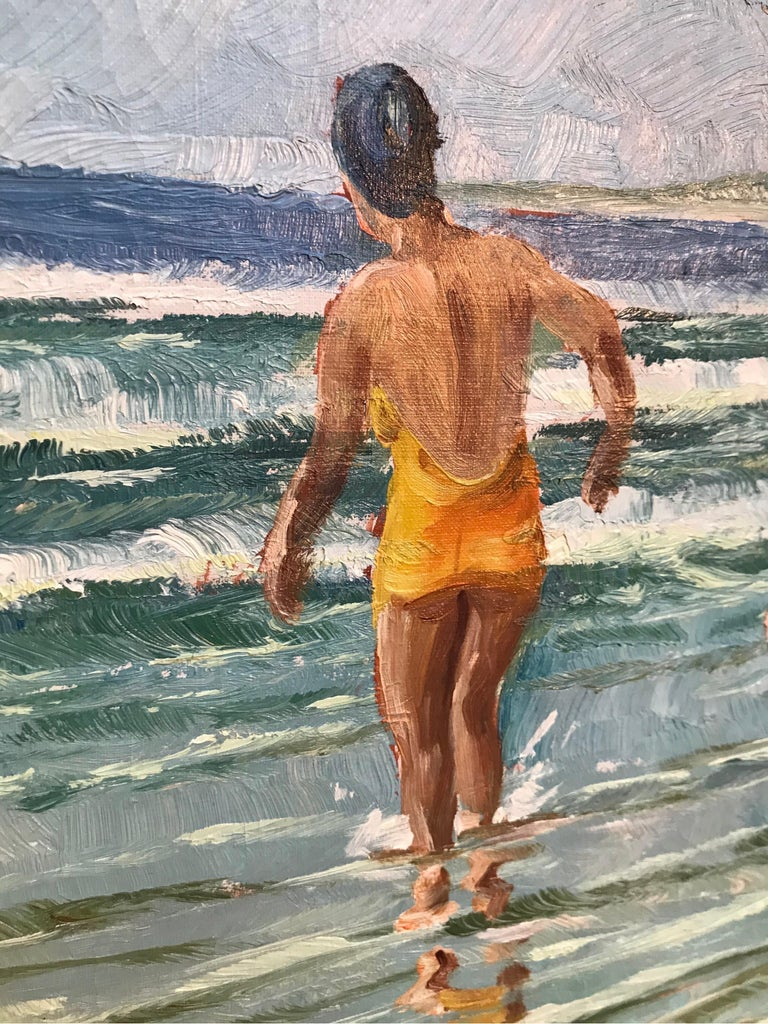 Mid-20th Century Christian Aabye Tage Oil on Canvas of Beach Scene For Sale