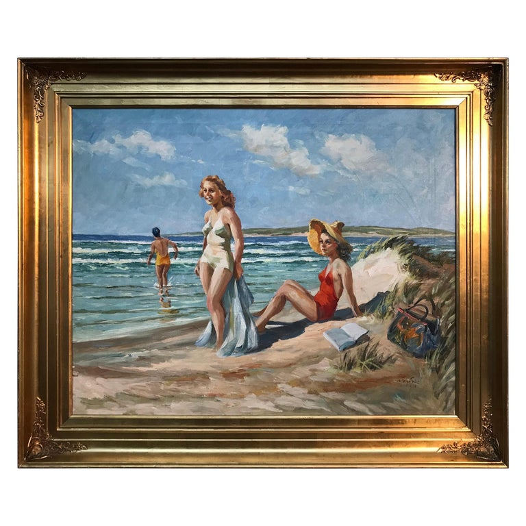 Christian Aabye Tage Oil on Canvas of Beach Scene For Sale
