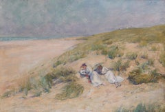 Original Danish early 20th Century oil painting of reclining ladies on the beach