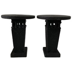 Christian Astuguevieille Black Lacquered Rope Covered Side Tables, Pair