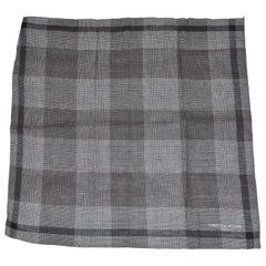 Christian Aujard Shades of Gray Micro Checkered Cotton Handkerchief