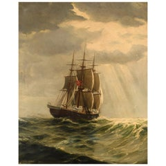 Christian Benjamin Olsen 'Denmark' Three Master under Sail, Oil on Canvas