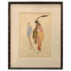 Christian Bérard Style Watercolor and Hand Drawn Fashion Rendering