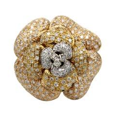 Christian Bonja Rose Flower Diamod 18k Gold Cocktail Ring