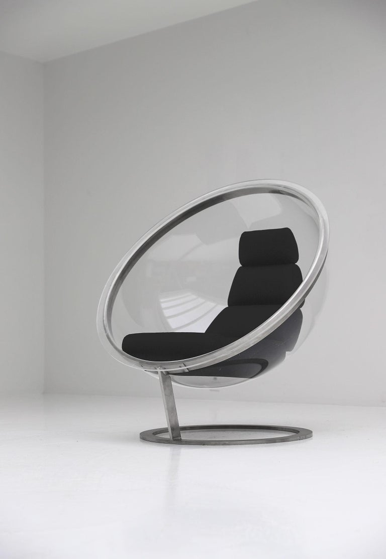 1970s Christian Daninos Bubbler Lucite chair  Brand New black wool upholster  Edition Forme Nouvelles Great vintage condition  This model of chair can be seen at the Museum of Decorative Arts in Paris.