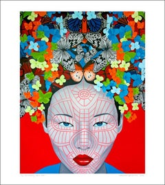 Butterfly Chin Red..Asian woman face with vibrant colours butterfly pop art