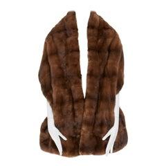 CHRISTIAN DIOR 100% mink genuine fur brown silk CD monogram embroidered shawl