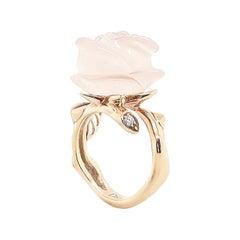 Christian Dior 18 Karat Gold Rose Quartz Ring