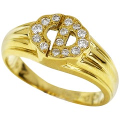 Christian Dior 18 Karat Yellow Gold CD Diamond Ring US 3.7