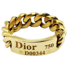 Christian Dior 18 Karat Yellow Gold Solid Chain Link Ring, France