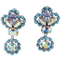 Christian Dior 1958 Turquoise Drop Earrings With Iridescent Aurora Borealis