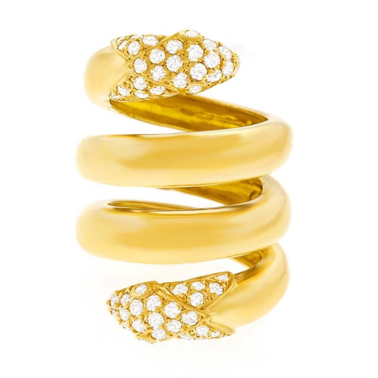Modernist Christian Dior 1960s Diamond-set Gold Snake Ring