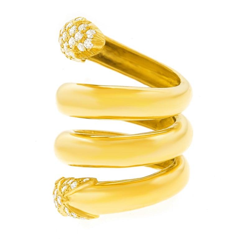 Christian Dior 1960s Diamond-set Gold Snake Ring 4