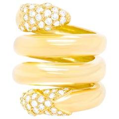 Christian Dior 1960s Diamond-Set Gold Snake Ring