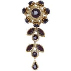 Christian Dior Large Flower Drop Brooch With Garnet Prong Set Rhinestones, 1960s