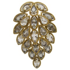 Christian Dior 1962 Vintage Crystal Leaf Brooch