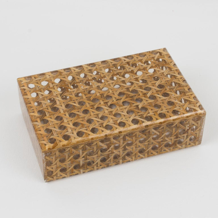 Mid-Century Modern Christian Dior 1970s Lucite and Rattan Box