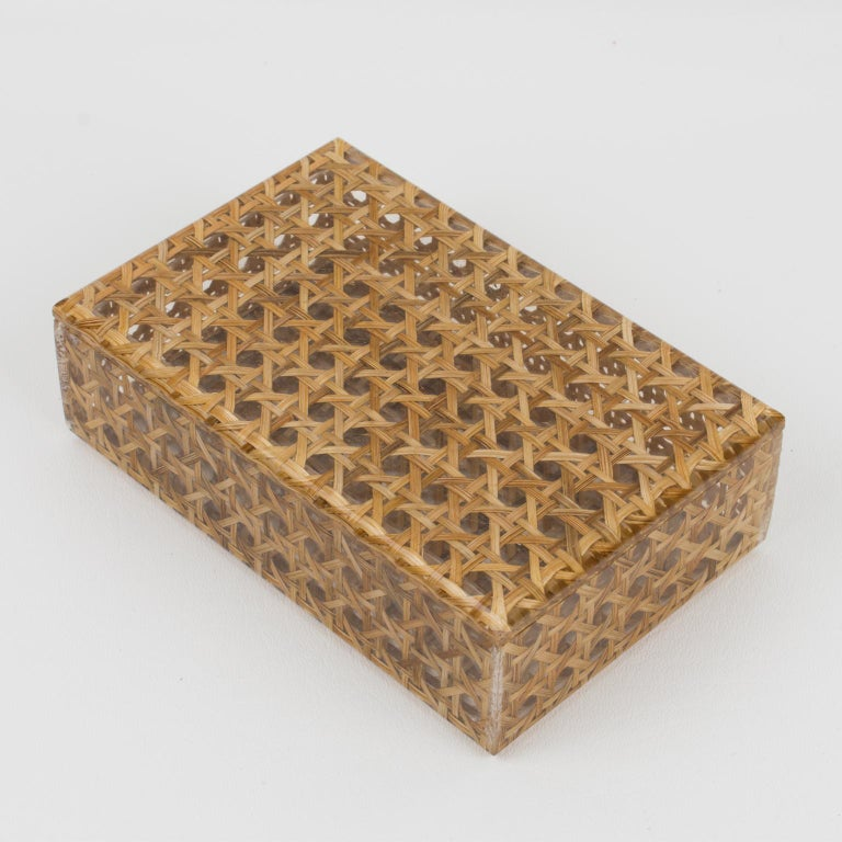 French Christian Dior 1970s Lucite and Rattan Box For Sale