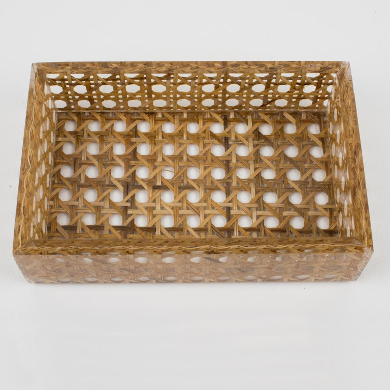 Late 20th Century Christian Dior 1970s Lucite and Rattan Box
