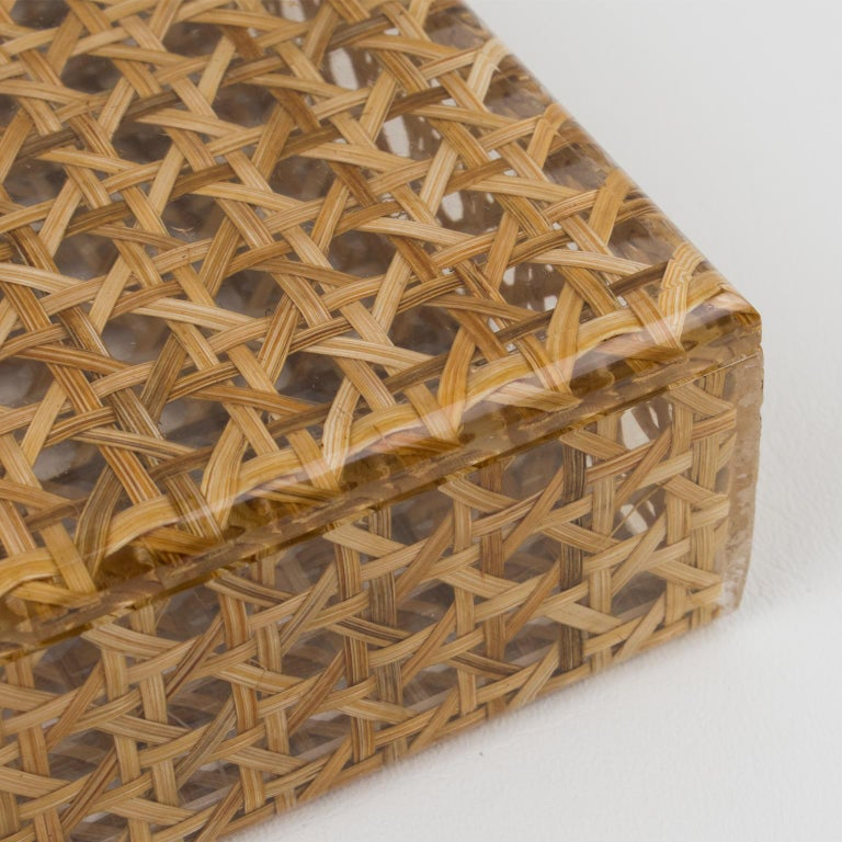 Wicker Christian Dior 1970s Lucite and Rattan Box For Sale