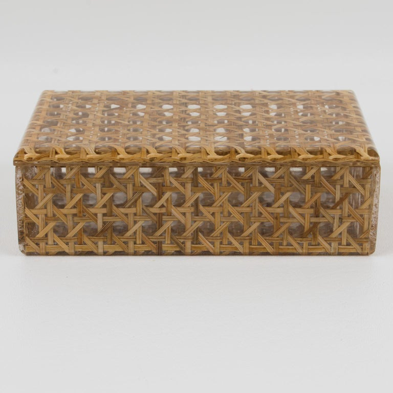 Christian Dior 1970s Lucite and Rattan Box For Sale 1