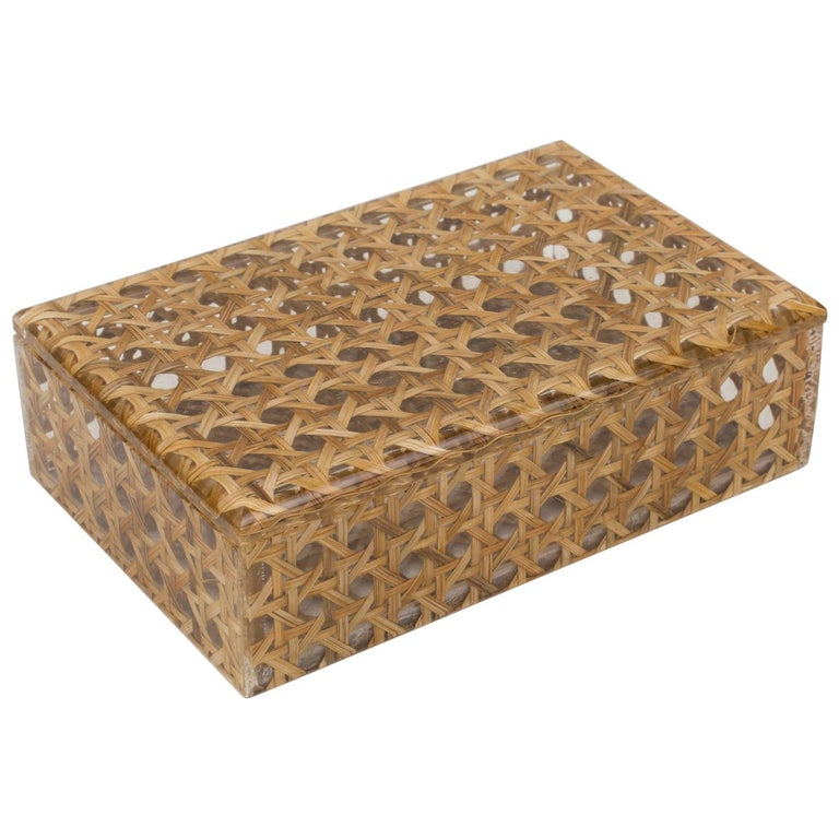 Christian Dior 1970s Lucite and Rattan Box For Sale