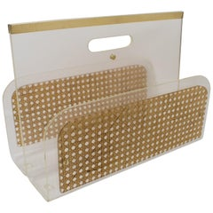 Christian Dior 1970s Lucite and Rattan Magazine Rack Holder