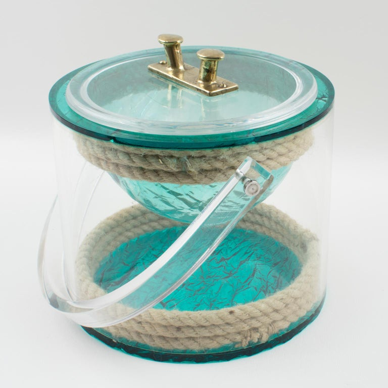 Christian Dior 1970s Lucite and Rope Barware Ice Bucket For Sale 3