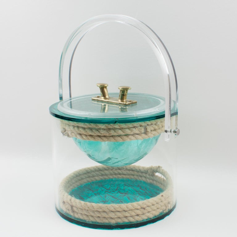 Mid-Century Modern Christian Dior 1970s Lucite and Rope Barware Ice Bucket For Sale