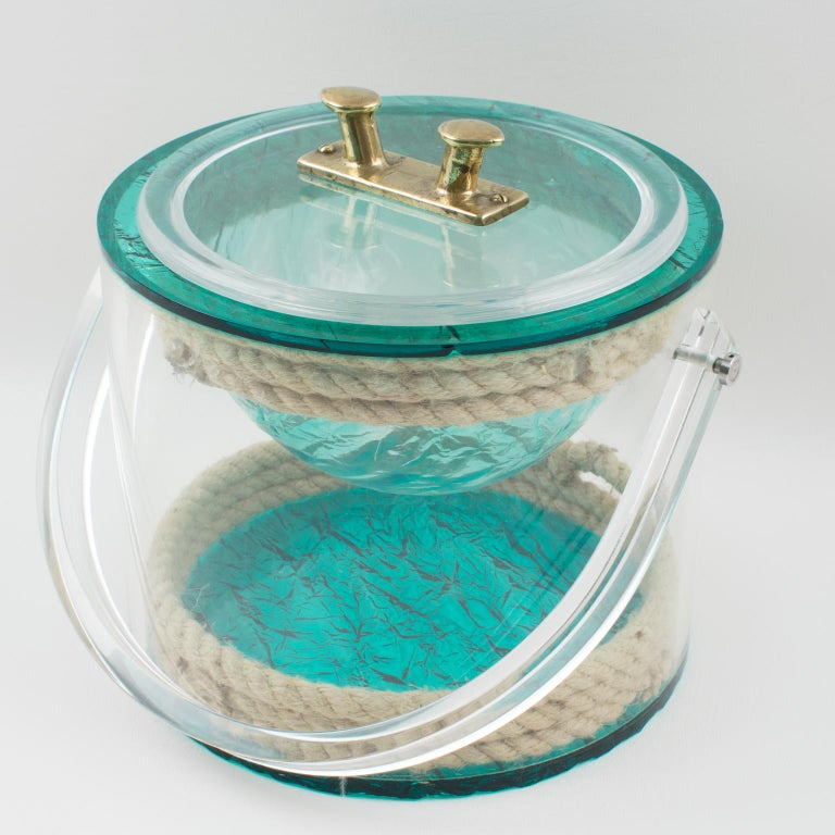 French Christian Dior 1970s Lucite and Rope Barware Ice Bucket For Sale