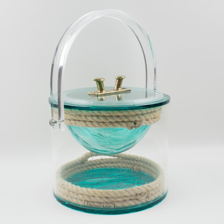 Christian Dior 1970s Lucite and Rope Barware Ice Bucket For Sale 2