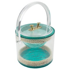 Christian Dior 1970s Lucite and Rope Barware Ice Bucket