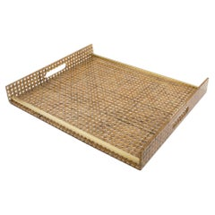 Christian Dior 1970s Lucite, Rattan and Brass Barware Serving Tray