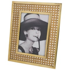 Christian Dior 1970s Lucite, Rattan and Brass Picture Frame