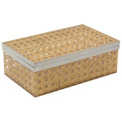 Christian Dior 1970s Lucite Rattan Chrome Box