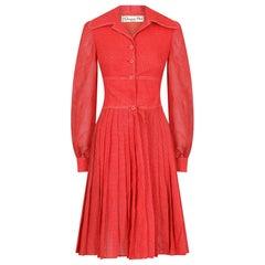 Christian Dior 1970s Muslin Cotton Checked Dress