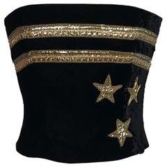 Christian Dior 1980s Black Velvet and Gold Beaded Star Corset Bustier