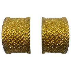 Christian Dior 1980s Gold Basket Wave Half Hoop Earrings