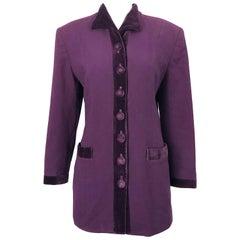 Christian Dior 1990s Sz 10 Purple Eggplant Wool Velvet 90s Vintage Jacket Blazer